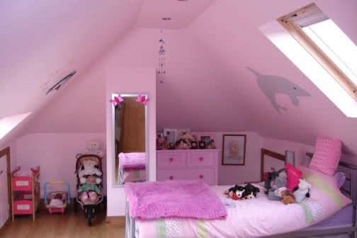 pink loft conversion bedroom