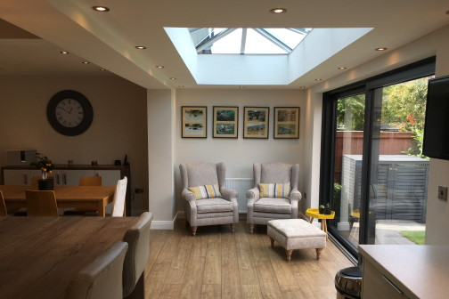furniture inside single storey extension